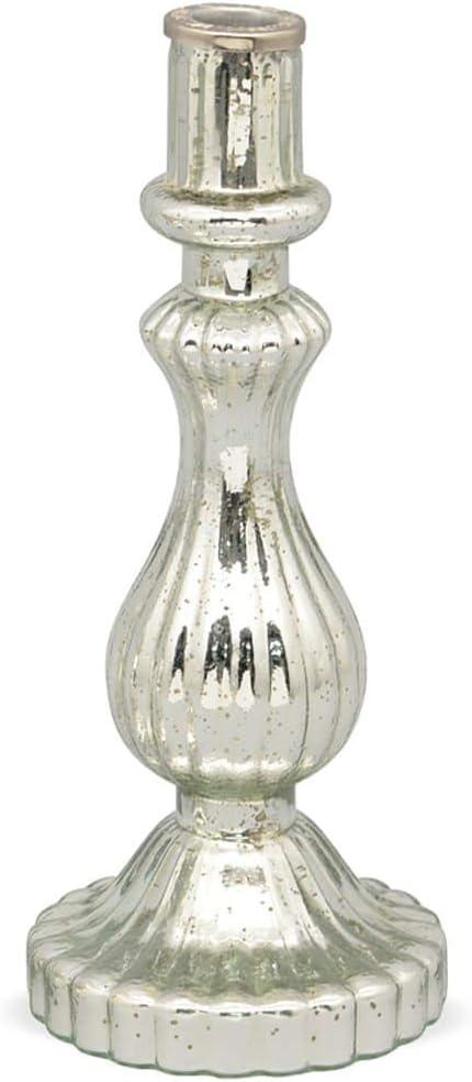 matches21 Candelabro de cristal color plateado 15,5 cm. dise/ño retro vidrio