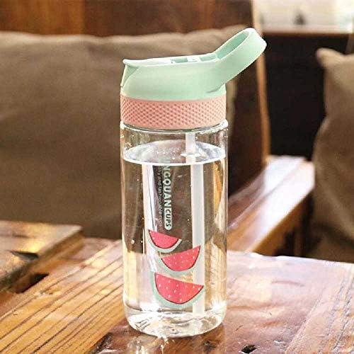 520ML Baby Cup Mit Deckel Tragbare Outdoor-Sportreiseschule Verwenden Sie Eine Süße Wassertrinkflasche Für Kinder, Die Wasser Trinken. Geburtstagsgeschenk Grün