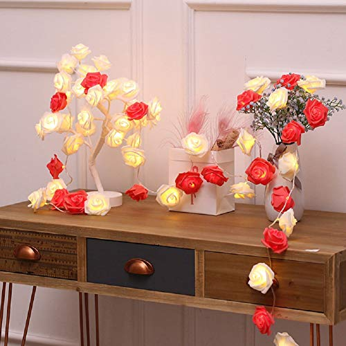 LED Rose String Lights,Waterproof Small lamp Christmas Lights Wedding Room Decoration lamp String Indoor Outdoor Window Curtains String Lights Backdrops Lights-Battery C-1.5m-10 -