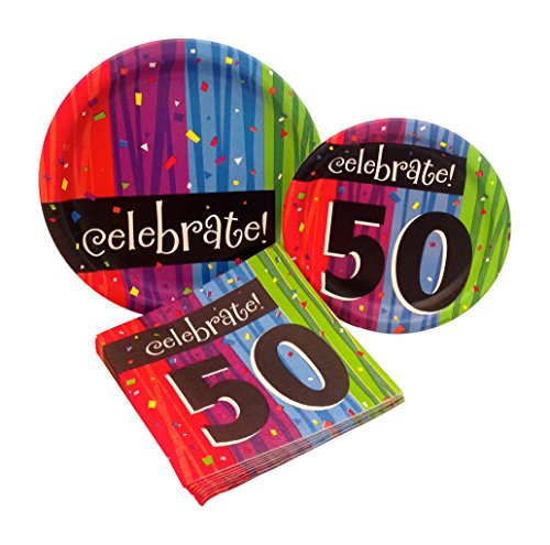 Milestone Celebrations 50th Birthday Party Supply Pack! Bundle Includes Paper Plates & Napkins for 8 -