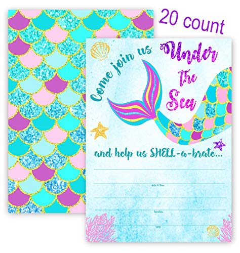 Mermaid Party Invitations - 20 Invitations + 20 Envelopes - Under The Sea Invitations - Pool Party Invitations - Tail 20ct