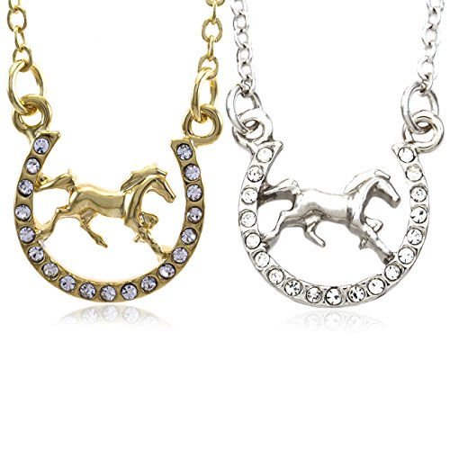 Soulbreezecollection Horse Mustang Pony Horseshoe Necklace Pendant Lucky Charm Western Cowboy Cowgirl (Set)
