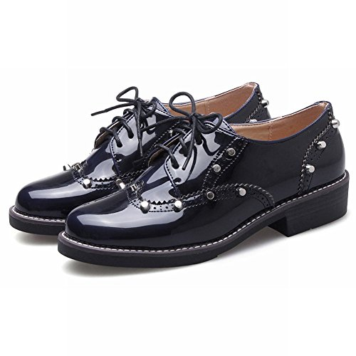 Charm Foot Donna Casual Lace Up In Pelle Oxford Tacco Basso Scarpe Blu