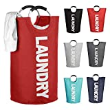 Mziart Thicken Laundry Bag Hamper Tote with Alloy Handles, Heavy Duty and Durable Canvas Clothes Storage Bag Washing Bag, Collapsible and Self Standing as Laundry Basket (Red)