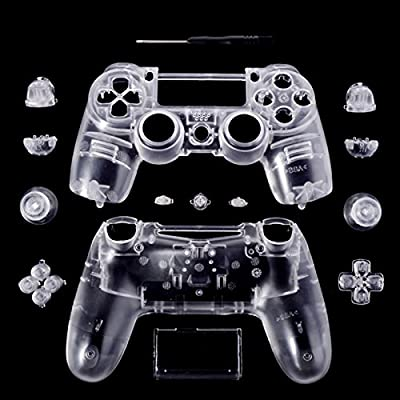 eXtremeRate Transparent Clear Controller Full Housing Shell for Dualshock PS4 Playstation 4 by Extremerate
