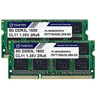 Timetec Hynix IC 16GB Kit(2x8GB) DDR3L 1600MHz PC3L-12800 Non ECC Unbuffered 1.35V CL11 2Rx8 Dual Rank 204 Pin SODIMM Laptop Notebook Computer Memory Ram Module Upgrade(16GB Kit(2x8GB))