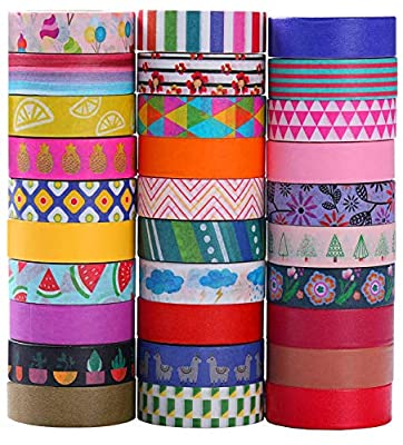 Ninico 30 Rolls Washi Tape Set - 10mm Wide, Colorful Flower Style Design, Decorative Masking Tape for DIY Craft Scrapbooking Gift Wrapping by Ninico
