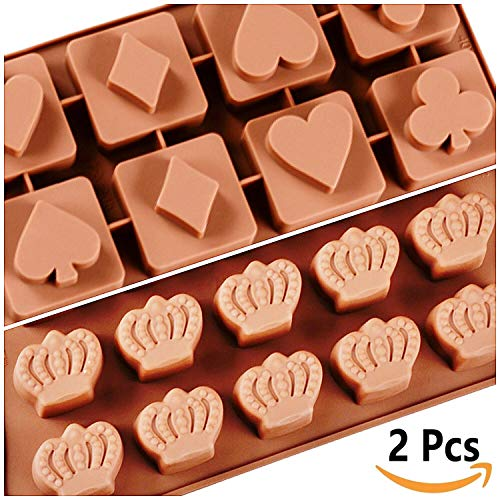Crown and Casino Poker Concept Set Chocolate Fondant Candy Gummy Jelly Ice Cube and Cake Decorations 23 Cavity Large Premium Silicone Molds by Molds & More (2 (Card Chocolate Candy Mold)