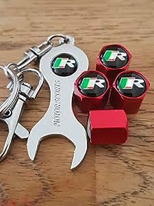 Eurotech Jaguar r rojo rueda polvo tapas para válvulas con negro llave llavero: Amazon.es: Coche y moto