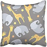 Throw Pillow Cover Square 18x18 Inches Africa Giraffe and Elephant on Grey Pattern African Animal Baby Birthday Cartoon Character Child Polyester Decor Hidden Zipper Print On Pillowcases