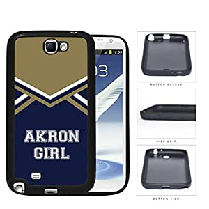 Akron City Girl School Spirit Cheerleading Uniform Samsung Galaxy Note II 2 N7100 Rubber Silicone TPU Cell Phone Case by Maris's Diary