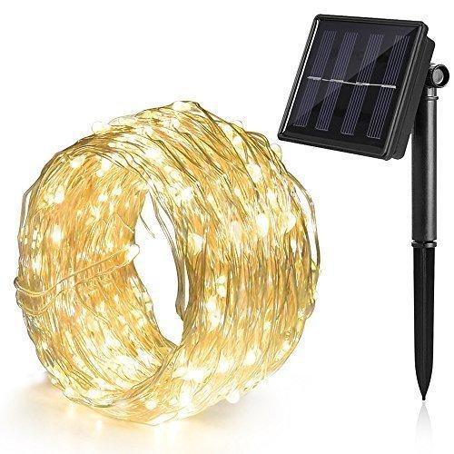 Ankway Cadena Luces Solares 100 LED 8 Modos 12M 3 Hilos de Alambre de Cobre IP65 Impermeable Guirnalda Luces Solares para...