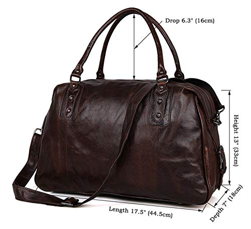 MUMUWU Men's Tote Bag Simple Vintage Leather Oil Wax Casual Medium Travel Bag Travel Bags (Color : Brown, Size : L)