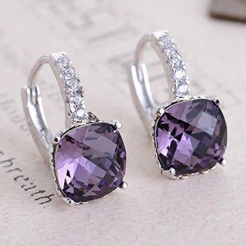 wassana Women Fashion 925 Silver Cushion Cut Amethyst Dangle Huggie Earrings Jewelry (Tiffany Cushion Earrings)