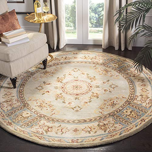 Safavieh Bergama Collection BRG174A Handmade Light Blue and Ivory Premium Wool Round Area Rug (4' - Bergama 4' Collection