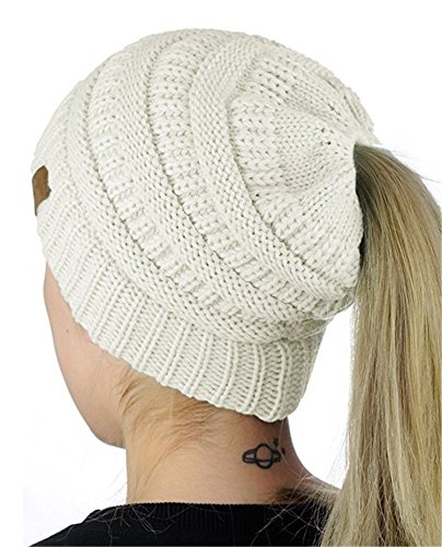 (IVYRISE Winter Warm Women BeanieTail Soft Stretch Ponytail High Bun Cable Knit Ribbed Beanie Hat, White)