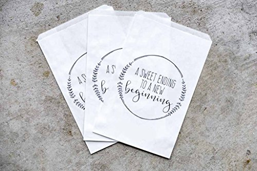 A Sweet Ending To A New Beginning Wedding Favor Bags, Bridal Shower Favors, White, Set of -