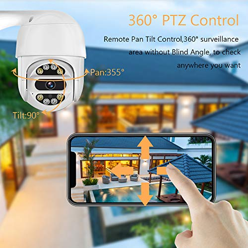 Gecheer Security Camera Outdoor, Wi-Fi Smart Home Camera with Night Vision, 2-Way Audio, 1080P IP Camera, IP66 Waterproof, Remote Monitor for Office Hotel Banks and Home