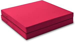 Shinnwa Outside Porch Chair Cushions for Outdoor Wicker Patio Furniture Chairs Cushions with Waterproof Covers Outdoor Replacement Chair Seat Cushions 18.5x18.5 Inches Red Set of 2