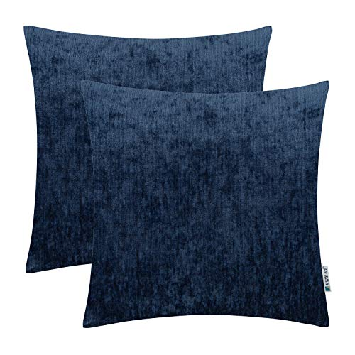 HWY 50 Cashmere Soft Decorative Throw Pillows Covers Set Cushion Case for Couch Bed Living Room 18x18 Inches Blue Comfortable Pack of 2 Chenille Living Room Set