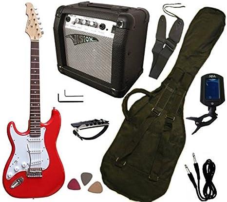 Vision: PACK DE GUITARRA eléctrica para zurdos, con amplificador de 15 W, afinador electrónico y 7 accesorios, rojo: Amazon.es: Instrumentos musicales