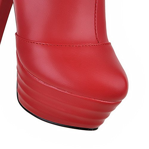 Closed Round Allhqfashion Zipper Material High Women's Toe Boots Red Heels Low Soft top qXUpUrnTcw