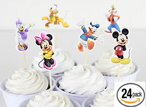 Pack of 24 Disney Mickey Mouse Characters Cupcake or Muiffin Topper PAPER Tooth Picks Party Decoration for Kid's Birthday Party Decoration Supplies- The Toy Explorer (Mickey Mouse Cupcake Picks)