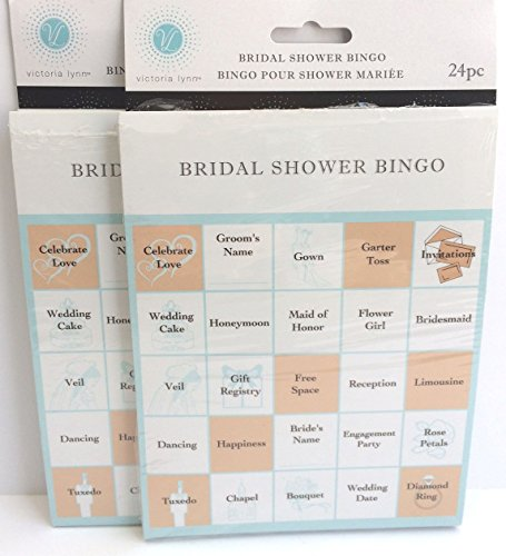 Bridal Shower Party Games - Bingo Cards for 48 Guests - 2 Pack - Easy to Play - Fun for (Peach Wedding Ideas)
