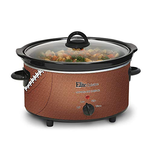 Elite Cuisine MST-500FB Football Electric Slow Cooker, Adjustable Temp Entrees, Sauces, Stews & Dips, Dishwasher-Safe Glass Lid & Ceramic Pot, 5 quart Capacity,