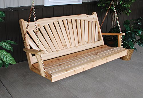 Classic Outdoor 6 Foot Fanback Porch SwingUnfinished Pine Amish Made USA