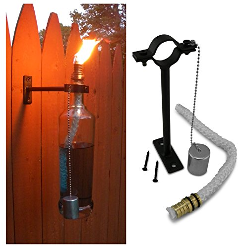 Rustic Road Wine Bottle Tiki Torch Hardware Kit - Just Add Your Own Wine/Liquor Bottle For A Beautiful Wall Mounted Outdoor Torch Lamp (Lighting Torch Wall)