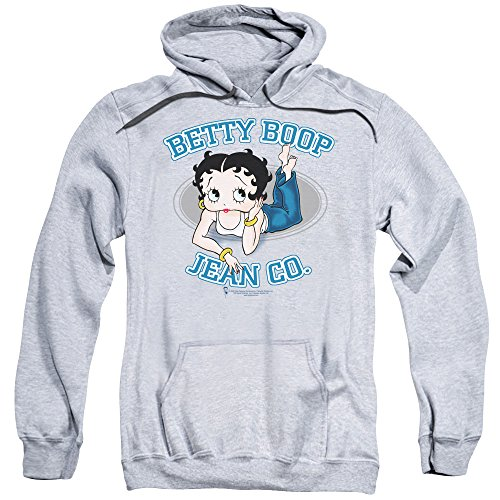 Betty 1930's Boop Cartoon American Icon Jean Co Adult Pull-Over Hoodie Gray