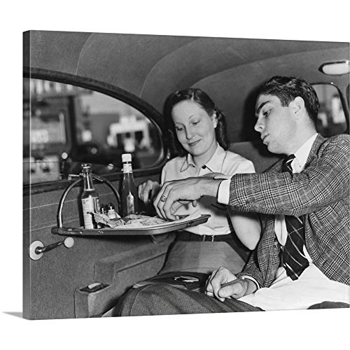 GREATBIGCANVAS Gallery-Wrapped Canvas Entitled Drive-in Restaurant in Hollywood, Los Angeles, June 29, 1938 by 30