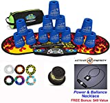 Speed Stacks Combo Set 'The Works'': 12 BLUE 4'' Cups, Black Flame Gen 3 Mat, G4 Pro Timer, Cup Keeper, Stem, Gear Bag + Active Energy Necklace