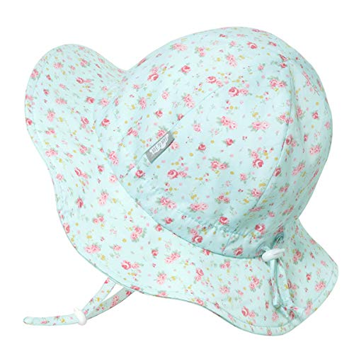Girls Breathable Sun-Hat 50 UPF, Size Adjustable, Stay-on Tie (XL: 5-12Y, Retro Roses)