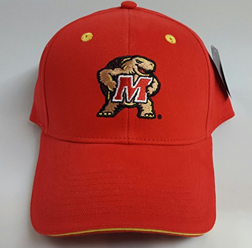 NCAA New Maryland Terps Embroidered Red Adjustable Cap by NCAA
