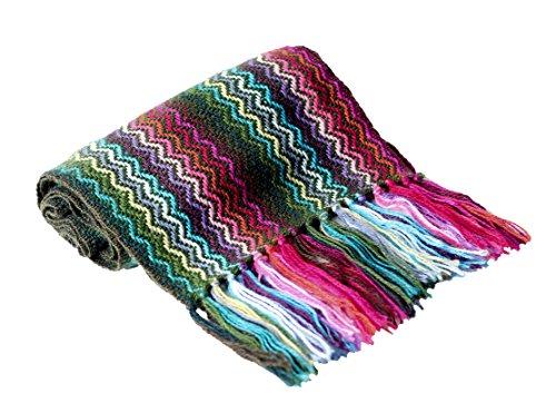 TINKUY PERU - Peruvian Alpaca Wool - Unisex Handmade Woven Loom Multicolor Neck Warmer Scarf Stole Wrap