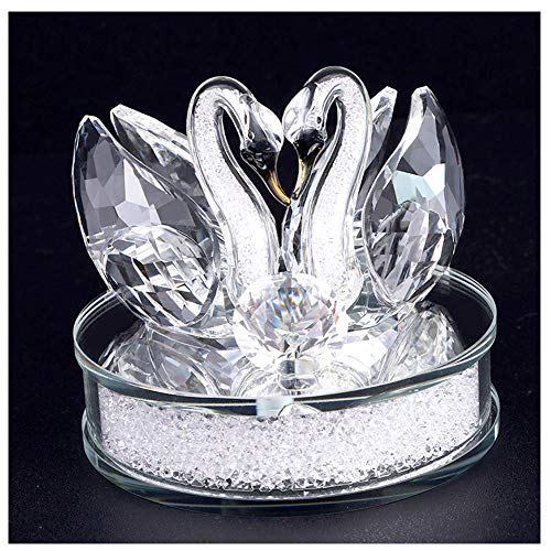 XIANGBAN Crystal Swan Statue Souvenir Collection Round Rhinestone Base Desktop Paperweight Decoration Wedding Favor