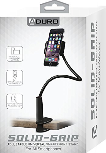 Aduro Solid-Grip 360 Adjustable Universal Gooseneck Smartphone Stand for Desk – Durable, Rubberized, Mount w/Holder (Black) by Aduro (Image #8)
