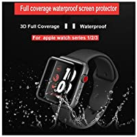 KINPEI for Apple Watch Series 3/2/1 Screen Protector 42mm [2Pack][3D Tempered Glass Full Coverage][Scratch Resistant][Waterproof] Tempered Glass Film for Apple iWatch (42mm-Black) from KINPEI