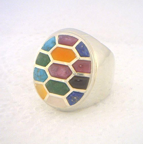 Gemstone Mosaic Inlay Design All Untreated Gems Handmade 925 Silver Ring size 10