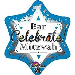 "Anagram International Bar Mitzvah Blue Jr. Shape Balloon, 21"", Multicolor"
