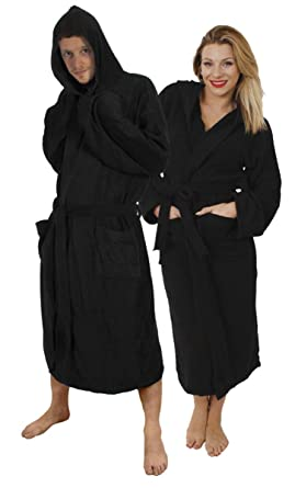 2eed2f4525 ILOVEFANCYDRESS Black Hooded Mens   Womens Bathrobe Gift Wrapped Towelling  Robe - 100% Cotton Towel