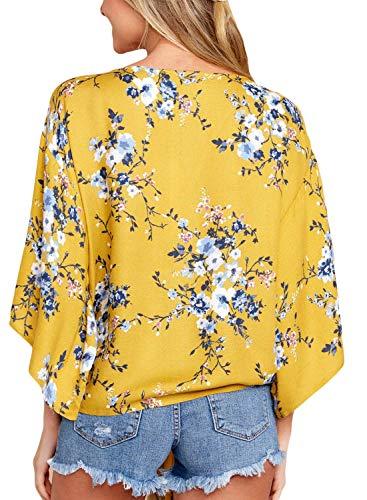 Chemise Printemps Motif V 9 Vintage Bouffant 3 Femme Chemisiers Shirts Elgante Fleur Cou Et Tops 4 Manches Haut Nou Chic Loisir Mode tTHPw1qO1