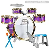 TKI-S 10 Piece Kids Jazz Drum Set - 5 Drums, Cymbal, Chair, Foot Pedal, 2 Drumsticks, Stool - Professional Drum Kit to Stimulating Children's Creativity, - Ideal Gift Toy for Kids, Teens, Boys & Girls
