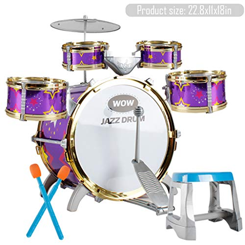 TKI-S 11 Piece Kids Jazz Drum Set - 5 Drums, Cymbal, Chair, Foot Pedal, 2 Drumsticks, Stool - Professional Drum Kit to Stimulating Children's Creativity, - Ideal Gift Toy for - Boys Drums
