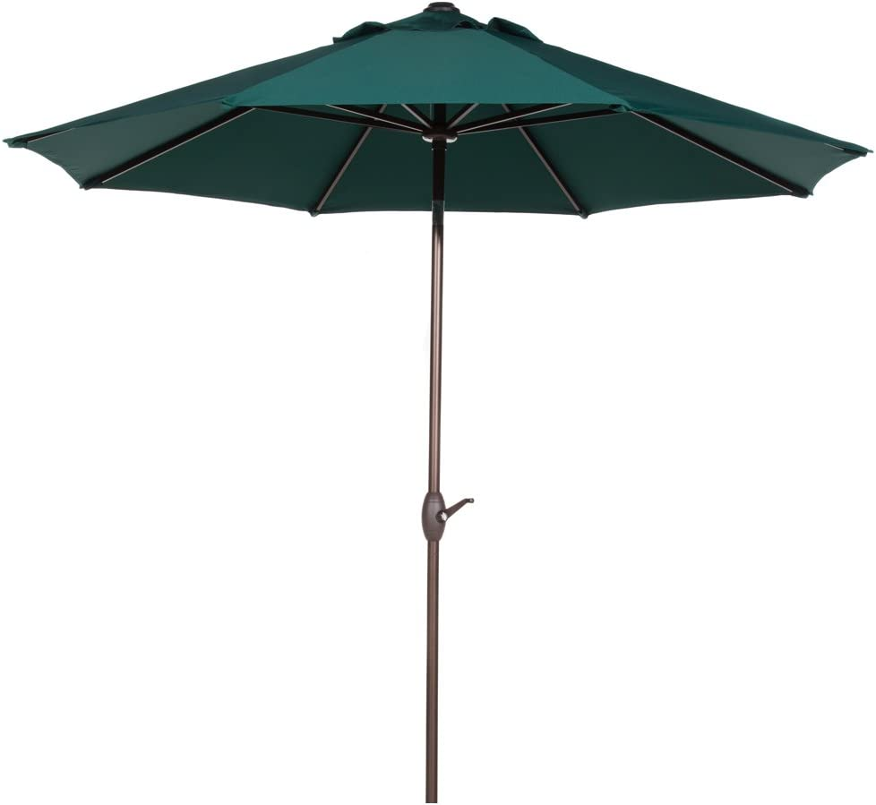 Abba Patio Sunbrella Patio Umbrella 9 Feet Outdoor Market Table Umbrella with Auto Tilt and Crank, Canvas Forest Green