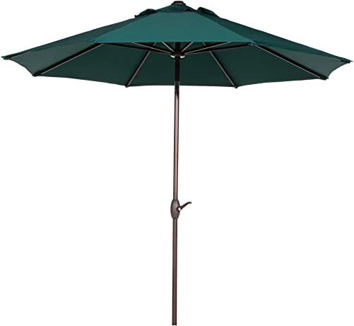 Abba Patio 9 Ft Sunbrella Patio Umbrella Market Outdoor Table Umbrella with Auto Tilt and Crank, Dark Green