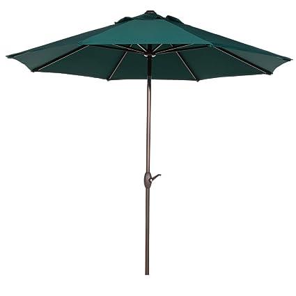 Abba Patio 9u0027 Patio Umbrella Market Outdoor Table Umbrella With Auto  Tilt/Crank,