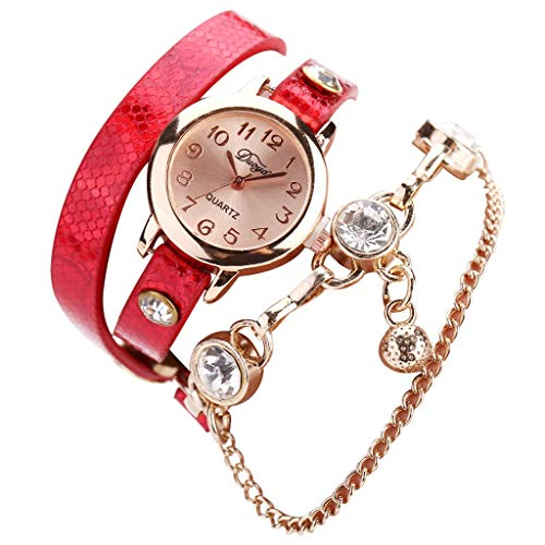 Watches for Women on sale elegantFIYDiamond studded shining women Watches Fashion Small Exquisite Dial Serpentine leather wristband Ladies Bracelet - Gold Serpentine Bracelets Red